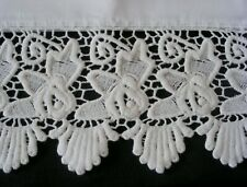 PillowCases (2) New White Embroidered Lace Cotton Sateen Standard Queen King S5#