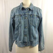 Vintage LA Blues Denim Jean Jacket Womens Size XL Light Wash Distressed Grunge