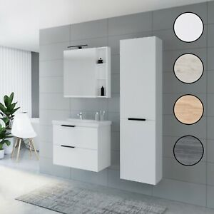 Planetmöbel Badmöbel Set 70cm Waschtisch Unterschrank Spiegelschrank Hochschrank