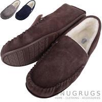 SNUGRUGS Mens Genuine Suede Wool Lined / Sheepskin Moccasin Slippers Rubber Sole
