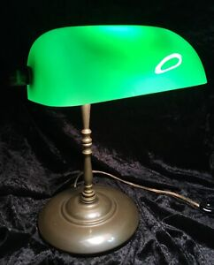 Vintage Brass Library Banker's Desk Lamp Green Glass Shade Office Estate Find