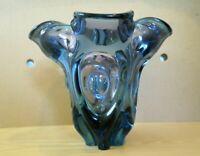 Large Bohemian Glass Vase, By Josef Hospodka For Chribska, Over 3kg Weight.