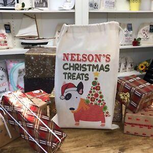 Personalised Dog Gift Bag Santa Sack - English Bull Terrier- Nelson Design