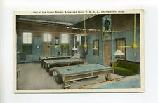 Charlestown MA Mass antique postcard, Army & Navy Game Room, Pool Tables
