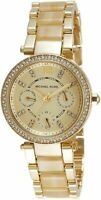 Michael Kors MK5842 Parker Gold Dial Gold-Tone Horn Accetate Women's Watch