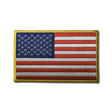 """Embroidered 4"""" American US Flag Yellow Border Sew or Iron on Patch Biker Patch"""