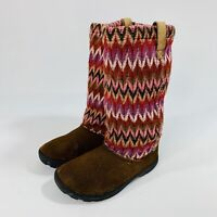 KEEN Girl's Size 3 Auburn Brown Suede Leather Knit Lined Slouch Boots
