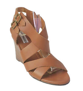 Steve Madde Brown Leather Sandal CITYLINE Women's Shoes 8.5