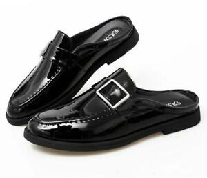 Men's Black White Patent Leather Slip On Mules Buckle Leisure Slippers Shoes New