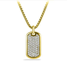 Dog Tag Sterling Silver 925 Yellow Gold Plated Iced Out Men's Pendant