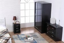 REFLECT High Gloss Black / Black Oak Sliding 3 Piece Bedroom Furniture Set