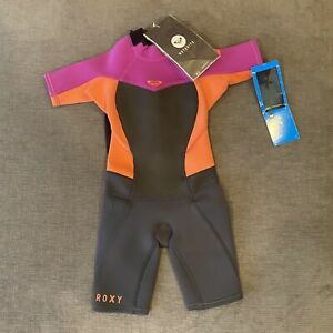 Roxy Syncro 2/2mm Kids Pink Black Long Sleeve Springsuit Wetsuit Size 2 YRS
