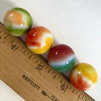 Glass Marbles Shooters Yellow Orange Green Swirl Lot 4 Vintage