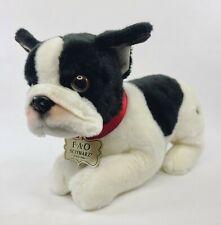 """FAO Schwarz Plush Dog Boston Terrier 12"""" Stuffed Animal Toy 68692 Black / White"""