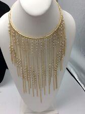 $78 BCBGeneration Imitation Pearl Fringe Statement Necklace Gold Tone  BCB14
