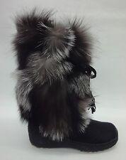 Regina Womens Gigi Fur Boots GIGI Silver Fox Size 8