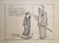 Cuban Art. Drawing by Enrique Almaguer Pavon. Untitled, 1913. Original signed.