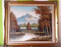 Öl Gemälde Bewaldetes Seeufer mit Bergmassiv 20.Jahrhundert mit Rahmen