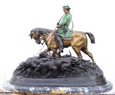 Bronze Sculpture Napoleon French Emperor on Horse with Marble Base