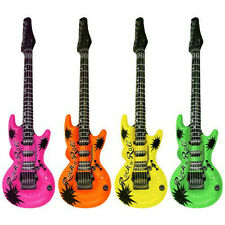 """Colorful Inflatable Guitars Rock Roll 20"""" Birthday Party Favors Bulk KARAOKE"""