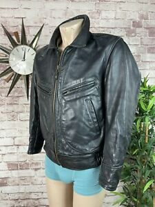"""Vintage FLIP USA Black Leather Jacket Helicopter Flyers Coat Men's Large 46"""""""