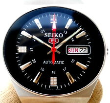 Vintage Japan Seiko 5 .. Automatic Gorgeous Black oval Day Date Mens Watch..