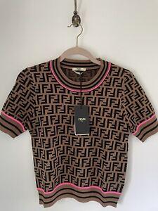 Authentic Fendi Sweater Logo Pink Accent Sz 36
