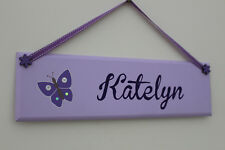 Children's handpainted lilac door sign / name plaque with purple butterfly