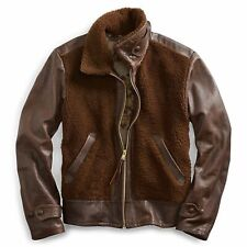 $2900 NWT RRL Ralph Lauren Grizzly Leather Bomber Shearling Jacket Mens M Medium