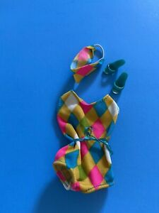 Vintage Barbie Doll Color Magic Reproduction Swimsuit Headband Turquoise Mules