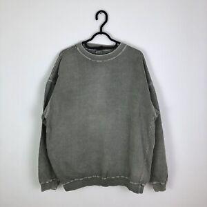 Vintage Oversized Blank Plain Sweatshirt Jumper Grey - Medium
