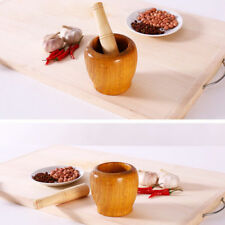 Wooden Mortar and Pestle Garlic Ginger Herb Mixing Grinding Spice Crusher Bowl