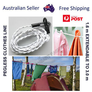 Travel Clothesline Clothes Line Pegless Washing Camping Hiking - Christmas Sale