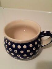 New listing Boleslawiec Polish Pottery Handmade Mug Large Bubble Pot Belly Eyes