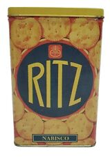 "RARE VINTAGE KITCHEN FOOD 6 1/2"" HIGH 1995 NABISCO RITZ CRACKERS TIN CAN BOX"