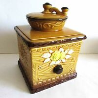 "Old Ceramic Coffee Grinder Cookie Jar Embossed Roses Japan 6.5x9"" tall FREE SH"