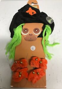 Witch Costume for Dogs - S - 4 orange paw scrunchies with bells