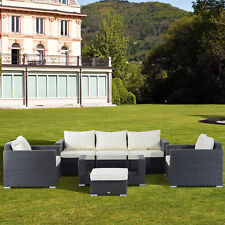 Outsunny Garden Rattan Furniture 7 Pcs Sofa Set Patio Outdoor Wicker Weave Conservatory Table Chairs W/ Cushions Black Aluminium Frame