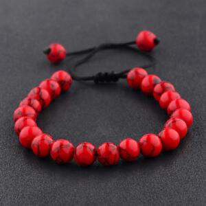 Fashion Men's Beads Turquoise Howlite Agate Macrame Weaving Couples Bracelets