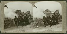 Our troops pass the smoking ruins of Monchy on the way up the line - Stereoview
