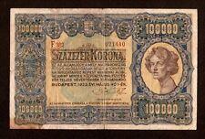 Hungary Ungarn 100000 100.000 Korona 1923 . Very rare banknote . Pick # 72a