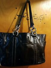 Coach East West Gallery Black Patent Leather Tote Shoulder Bag Purse F12839