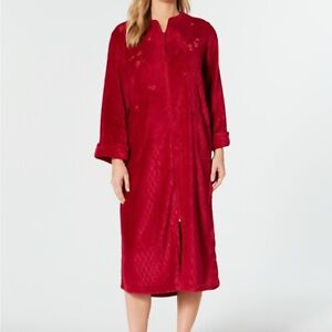 Miss Elaine Fleece Robe Embroidered quilted Soft Robe Plus Red 3X