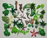PLAYMOBIL JUNGLE SWAMP LOT OF 50 PIECES TREES BUSHES LILY PAD HAMMOK FOREST SET