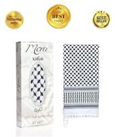 "Top Quality Shemagh Arabic Scarf Premium White Keffiyeh 47""x47"" 100% Cotton"