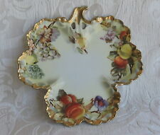 A Beyer & Bock Three Leaf Shaped Tray with Lovely Grape and other Fruits c1920