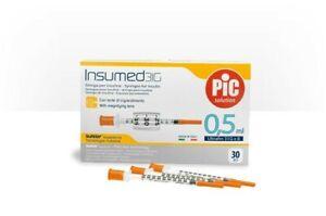 OFFERTA PIC INSUMED - 90 Siringhe per Insulina (3x 30) - Misura 0,5 ml 30 G