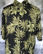 Hibiscus Hawaii Men's Shirt L/XL Black w Green Floral Print Button Front  C19