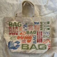 Vintage 70s Canvas BAG BAG BAG Tote Bag Literal