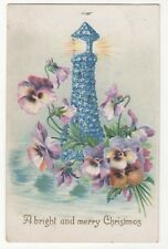 Christmas Greetings Embossed Postcard Lighthouse 882b